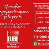 """""""Riaperture"""" LUBE Store Mirandola, con un appuntamento è meglio."""